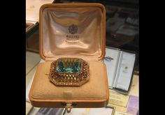 Faberge Siberian aquamarine and diamond brooch was a gift from Tsar Nicholas II to princess Alix of Hesse. They were executed July 17,1918, and she was wearing the jewel right up until the time of her death