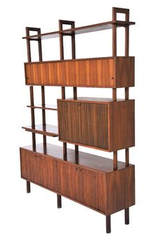 Schulim Krimper; Blackbean Wood and Brass Wall Unit, c1960.