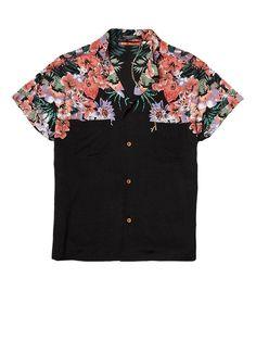 Silky feel Hawaii print shirt- Maison Scotch