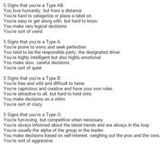 5 Signs you're a Type AB, Type B, Type A, Type O