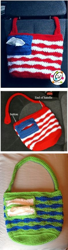 American Car Tote, free pattern by Heidi Yates of Snappy Tots.  Cute little pocket for tissues.  Button handle makes it easy to hang where needed.  Use it to hold necessities, or to collect trash.   . . . .   ღTrish W ~ http://www.pinterest.com/trishw/  . . . . #crochet #bag