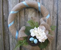 Spring Burlap Wreath with Hydrangea Birdnest and by TheRuffledPage, $45.00