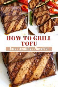Learn how to grill tofu! A vegan spin on a summer classic - simple grilled tofu for your next cookout. Flavorful and delectably tender tofu that pairs well with grilled veggies, greens, mac and cheese, corn salad, etc… A good one to have in the back pocket for any and all summer barbecues. Fire up the grill and give this recipe a try! Grilled Tofu Recipes, Best Tofu Recipes, Grilled Vegetables, Grilling Recipes, Vegan Recipes, Cooking Recipes, Corn Salads, Vegan Dinners, Mac And Cheese