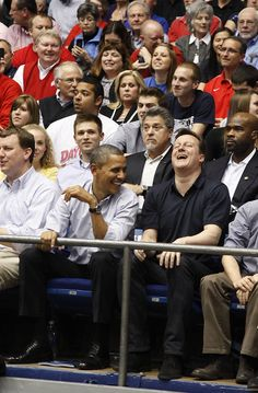 President Barack Obama and British Prime Minister David Cameron chat during one of the NCAA basketball tourney games at UD Arena in Dayton, Ohio Photo by Ty Greenless/Dayton Daily News. First Black President, Mr President, Presidente Obama, Barack Obama Family, Barrack Obama, Black Presidents, Barack And Michelle, British Prime Ministers, David Cameron
