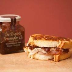 A mouth watering Pan Fried Bacon, Camembert and Onion Chutney Sandwich