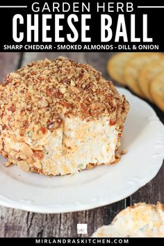 This easy cheese ball takes 15 minutes and is full of fresh flavor.  The combo of sharp cheddar, herbs and smoked almonds is perfection. It never fails to be the hit of a party. For nut allergies roll it in bacon bits instead! Serve this at BBQs this summer, game nights in the fall and of course for the holidays! #cheeseball #easy #allergyfriendly #partyfood #appetizer Snacks Für Party, Appetizers For Party, Parties Food, Party Games, Appetizer Dips, Appetizer Recipes, Dip Recipes, Potato Recipes, Recipies