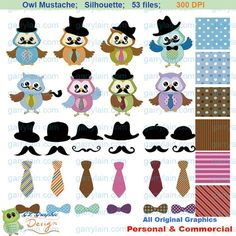 Mustache clip art, digital owl mustache, Silhouette clipart,  bow tie necktie hat, digital paper,  father's day, commercial use, CLS-0135. $5.00, via Etsy.