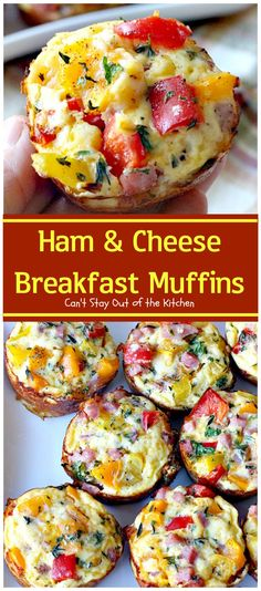 Ham and Cheese Breakfast Muffins have a cheesy-hash brown crust, an egg mixture with ham, cheese, bell peppers & seasonings. Delicious gluten free recipe.