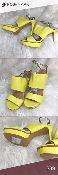 """Banana Republic Sample Yellow Platform Sandals 7 As far as I can tell this sample was produced as a last draft right before going to manufacturing. I also can find no evidence that it was ever produced. Too bad. But I think they're one of a kind. Buttery soft yellow leather with metallic strap. Size 7. 4 3/8"""" heel 1.25"""" Platform Banana Republic Shoes Platforms"""