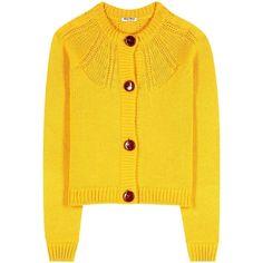 Miu Miu Virgin Wool Cardigan (950 AUD) liked on Polyvore featuring tops, cardigans, outerwear, miu miu, yellow, yellow cardigan, yellow top, cardigan top and miu miu top #bagsandpurses