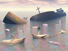 Industrial Disaster - Render by Elenarts - Elena Duvernay Digital Art Boat Art, Titanic, Dolphins, Fine Art America, Boats, Digital Art, Industrial, Ocean, Canvas