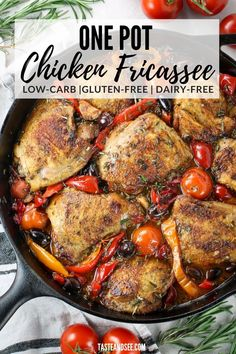 This Chicken Fricassee is some hearty, one-pot gluten free and low carb comfort food! Amazing Abruzzi-style chicken fricassee w/garlic, chopped rosemary, Kalamata olives, hot cherry peppers, cherry tomatoes, & white wine. #TasteAndSee One Pot Chicken, Chicken Thigh Recipes, Baked Chicken, Tandoori Chicken, Chicken Fricassee, Salty Foods, Pinterest Recipes, Everyday Food, Kalamata Olives
