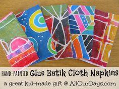 Elmer's Glue Gel Batik: Fun & Easy Kids' Craft Project - Diy Art For Kids, Crafts For Kids, Arts And Crafts, Kids Work, Craft Kids, Kid Art, Fabric Painting, Fabric Art, Dot Painting