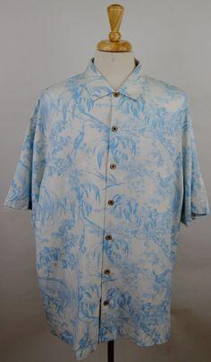 Tommy Bahama XXL mens hawaiian short sleeve silk linen blue white camp shirt  #TommyBahama #Hawaiian