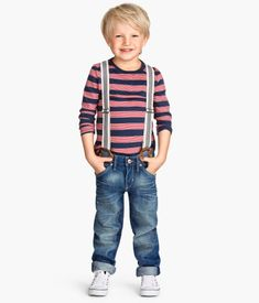 Relaxed denim with suspenders attached for Gavin. Would look cute with suspenders worn up or down.