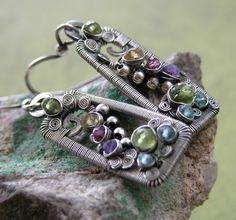 Multigemstone Sterling Silver Rectangle Earrings by wireartbymel  Etsy
