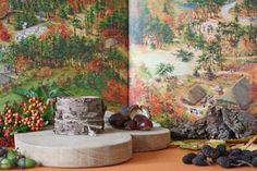 Kijktafel voor de herfst met op de achtergrond de pagina 'Veluwe' uit boek 'Nederland' van Charlotte Dematons. Zie voor een volledige beschrijving:  http://www.geloventhuis.nl/2015/wereld-van-ons-allemaal/kijktafels/kijk-hoe-de-wereld-van-ons-allemaal-is.html