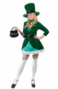 66c1e6caa817 Luscious Leprechaun Adult Costume Description: Everyone is a little Irish  on St. Patrick's Day