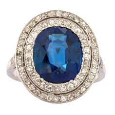 Belle Epoque Sapphire Diamond Platinum Ring. C.1900.