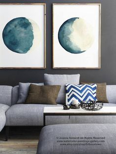 Canvas Moon Phases set of Two Watercolour Paintings. Teal Aqua Waxing Crescent and Waning Gibbous Moon Phase Art Print. Turquoise and Cream Watercolor Painting set of 2 Illustrations. A price is for the set of 2 Moon Phase Art Prints as in the first Picture. In the first Picture they