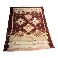 "Image of Bellwether Rare Distressed Vintage Turkish Oushak Rug - 3'3""x4'3"""