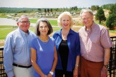 """Greg Gray, Tulsa Botanic Garden board chairman; Barbara Sturdivant, """"Reaching for Generations"""" campaign co-chairwoman; Pat Woodrum, the garden's founder; and Burt B. Holmes, campaign co-chairman, are among the driving forces behind the botanic garden. Persimmon Ridge LLC, including majority owners Tom Atherton and Gentner Drummond (not pictured), donated 170 acres for the garden site in 2005."""