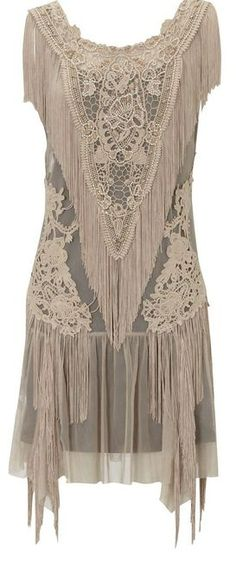Lace Fringe Flapper Dress