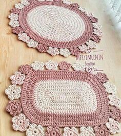 Crochet - Page 20 of 171 - Crochet and Knitting Patterns Crochet Decoration, Crochet Home Decor, Crochet Crafts, Crochet Projects, Diy Crafts, Crochet Mat, Crochet Carpet, Love Crochet, Crochet Tablecloth