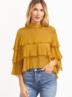 Shop Yellow Buttoned Keyhole Back Layered Ruffle Blouse online. SheIn offers Yellow Buttoned Keyhole Back Layered Ruffle Blouse & more to fit your fashionable needs.
