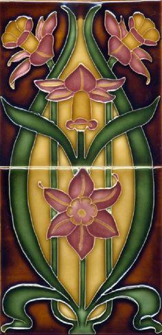 Art Nouveau Tile Set, Flowers