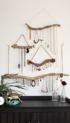 Driftwood Jewelry Display Wall Mounted Jewelry Organizer Necklace Storage Hanging Jewelry Holder/boho bohemian decor reclaimed gift for her by Curiographer on Etsy https://www.etsy.com/no-en/listing/222020989/driftwood-jewelry-display-wall-mounted