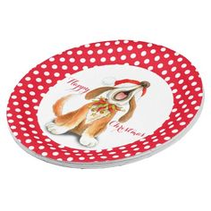 UP TO 50% OFF w Code: LOVEZGIFTS50  til tomorrow! Singing dog Happy Christmas party paper plate by mylittleeden