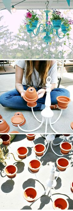 27 Super Cool Backyard Garden Ideas Chandelier planter tutorial DIY garden projects ideas backyards DIY Garden Decoartions Budget Backyard by ollie Chandelier Planter, Old Chandelier, Outdoor Chandelier, Chandelier Ideas, Hanging Planters Outdoor, Iron Chandeliers, Hanging Plant Diy, Flower Chandelier, Hanging Baskets