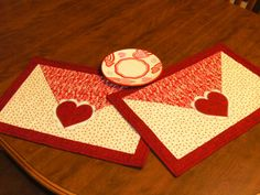 Valentine Quilted Placemat set of 2. Smaller size would be fun hot pads Make it smaller and turn it into mug rugs