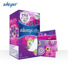 22.69$  Buy here - http://alikf6.shopchina.info/go.php?t=32721334179 - Whisper always RADIANT Colorful Women Pads Ultra Thin FLEXFOAM Dry Surface Sanitary Napkin 270mm Day/night use 28pads=1box 22.69$ #magazineonline