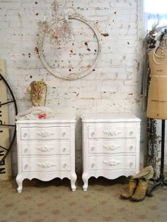 Painted Cottage Chic Pair of Shabby White by paintedcottages, $520.00