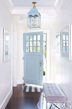 Pantone's 2016 Colors of the Year: 24 Serenity Home DeCor Ideas. Elegant entryway and front door with chandelier.