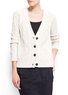 off-white cotton cable knit cardigan, mango