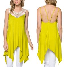 The DESTIN trapeze top - LEMON HP 7/31Super soft & flowy embroidered asymmetrical hem tunic top. Delicate neckline. Sexy spaghetti strap back. 95% rayon, 5% spandex.‼️NO TRADE, PRICE FIRM‼️ Tops