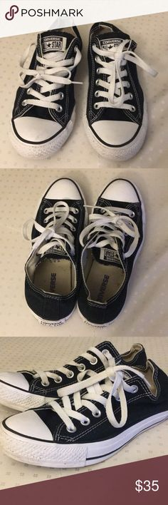 Black Low Top Converse Chuck Taylors Size 5M/7W Black low top converse size 5 in men's & 7 in women's. Barely worn. Great condition. Little to no signs of wear. Converse Shoes Sneakers