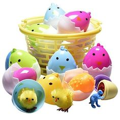 10 Easter Filled Chicken Shaped Eggs in Easter Basket (Eggs Are Filled with Cute Little Yellow Chicks, Egg Shaped Easter Stampers, Dinosaur Eggs, Egg Shaped Sharpeners)