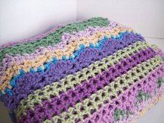 Multi colored crochet blanket/ ladies by Yarnthreadandmore on Etsy/ $120