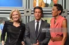 ABC News anchor Diane Sawyer; ABC News anchor David Muir and ABC 'Good Morning America' anchor Robin Roberts attend the dedication ceremony as ABC News headquarters in New York is proclaimed 'The Barbara Walters Building' ABC News Headquarters Dedication Ceremony on May 12, 2014 in New York City.