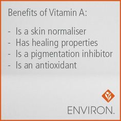Not all forms of Vitamin A are created equal. Environ products utilize multiple forms of Vitamin A in our key moisturizers and serums in order to replenish levels of Vitamin A that are not typically stored in the skin. Your local Environ stockist can help you determine which products are perfect for you. #Environ #Skincare www.dermaconcepts.com