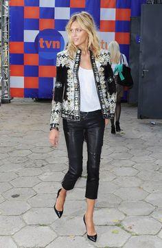 leather trousers + balmain jacket