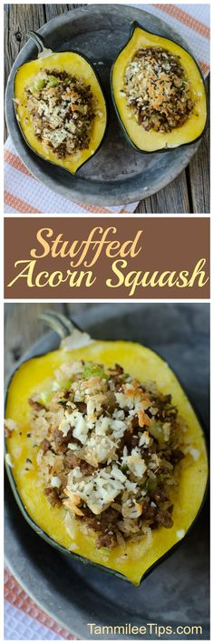 Delicious Sausage and Rice Stuffed Acorn Squash Recipe! So easy to make, great for family dinners, easy to make vegetarian, paleo or vegan! Healthy Dinner Recipes, Side Dish Recipes, Pork Recipes, Appetizer Recipes, Real Food Recipes, Chicken Recipes, Budget Recipes, Delicious Recipes, Healthy Food
