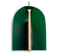 """Dustpan & Brush by Ole Jensen: Polypropylene """"dust blade"""" with handmade natural bristle and beech handle. Made in Denmark. $30."""
