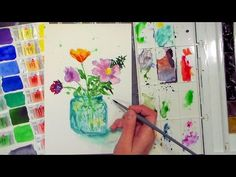 Wildflowers in Mason Jar Painting Tutorial & White Nights Watercolor Review   Thefrugalcrafter's Weblog