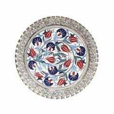 Gümüş İşlemeli Çini Tabak Turkish Art, Teller, Tile Art, Elsa, Decorative Plates, Miniatures, Pottery, Child, Ceramics
