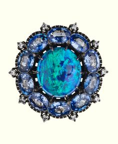BLUE COLLECTION  Ring 441  Opal / Sapphire / White Diamond / White Gold